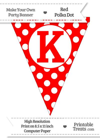 Red Polka Dot Pennant Flag Capital Letter K from PrintableTreats.com