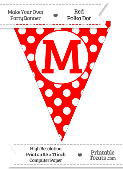Red Polka Dot Pennant Flag Capital Letter M from PrintableTreats.com