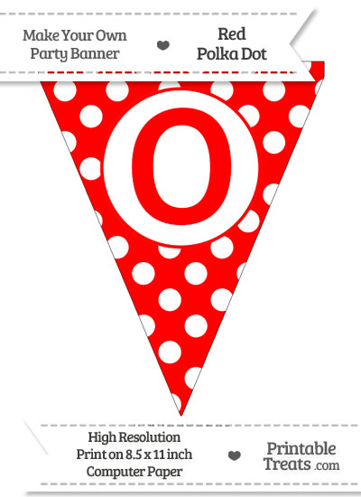 Red Polka Dot Pennant Flag Capital Letter O from PrintableTreats.com