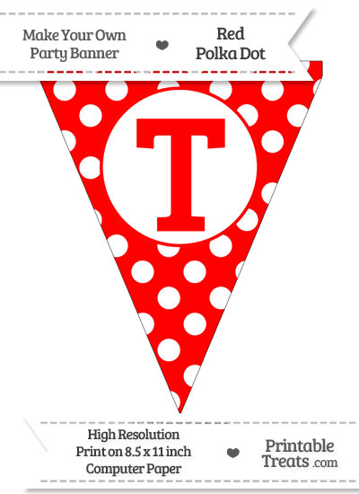 Red Polka Dot Pennant Flag Capital Letter T from PrintableTreats.com