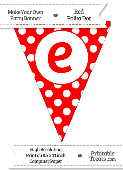 Red Polka Dot Pennant Flag Lowercase Letter E from PrintableTreats.com