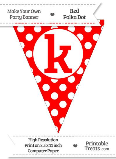Red Polka Dot Pennant Flag Lowercase Letter K from PrintableTreats.com