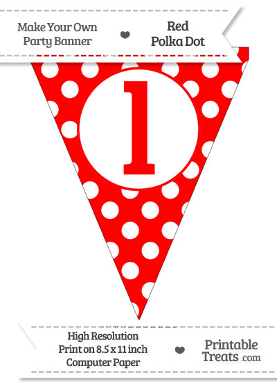 Red Polka Dot Pennant Flag Lowercase Letter L from PrintableTreats.com