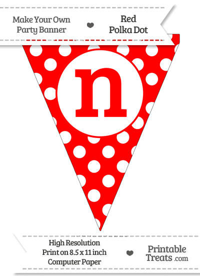 Red Polka Dot Pennant Flag Lowercase Letter N from PrintableTreats.com