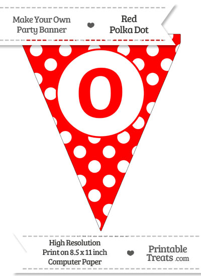 Red Polka Dot Pennant Flag Lowercase Letter O from PrintableTreats.com