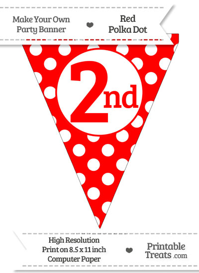 Red Polka Dot Pennant Flag Ordinal Number 2nd from PrintableTreats.com