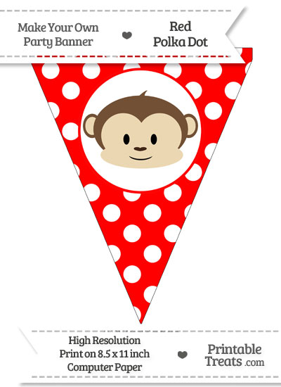 Red Polka Dot Pennant Flag with Boy Monkey from PrintableTreats.com