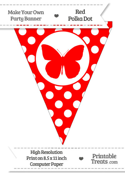Red Polka Dot Pennant Flag with Butterfly from PrintableTreats.com