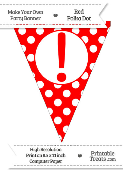 Red Polka Dot Pennant Flag with Exclamation Mark from PrintableTreats.com