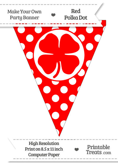 Red Polka Dot Pennant Flag with Four Leaf Clover Facing Right from PrintableTreats.com