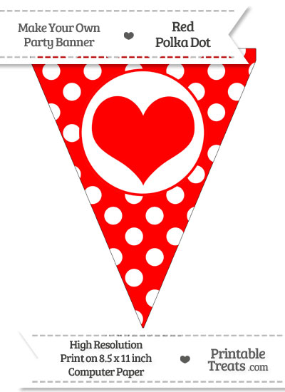 Red Polka Dot Pennant Flag with Heart from PrintableTreats.com