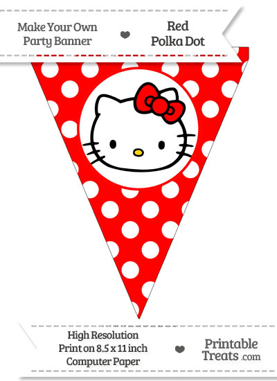 Red Polka Dot Pennant Flag with Hello Kitty from PrintableTreats.com