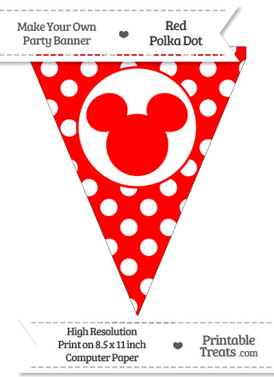 Red Polka Dot Pennant Flag with Mickey Mouse from PrintableTreats.com