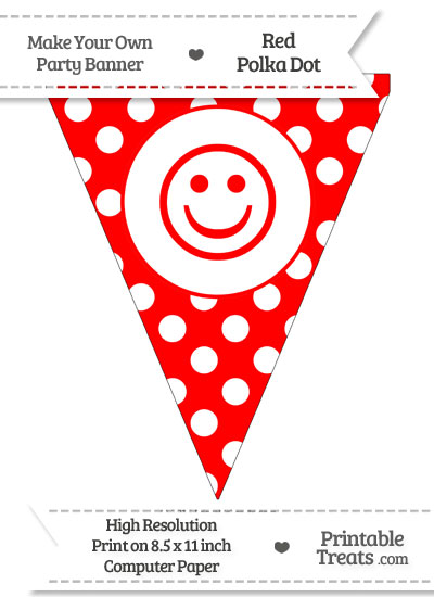 Red Polka Dot Pennant Flag with Smiley Face from PrintableTreats.com