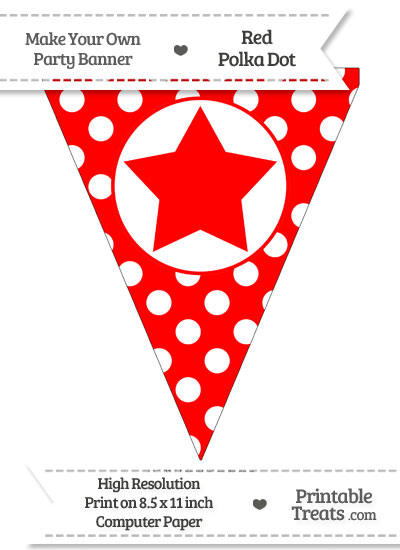 Red Polka Dot Pennant Flag with Star from PrintableTreats.com