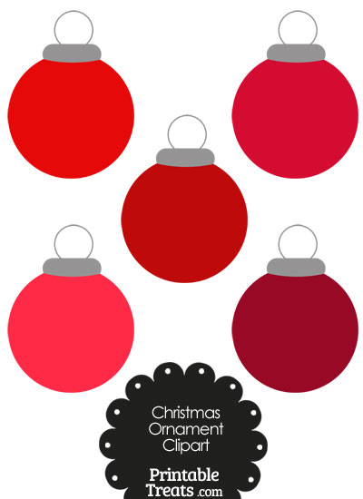 Red Round Ornament Clipart from PrintableTreats.com