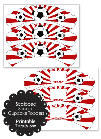 Red Scalloped Sunburst Soccer Cupcake Wrappers from PrintableTreats.com