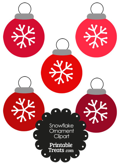Red Snowflake Ornament Clipart from PrintableTreats.com