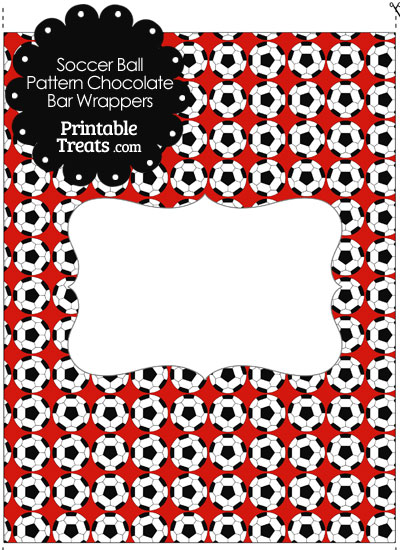 Red Soccer Ball Pattern Chocolate Bar Wrappers from PrintableTreats.com