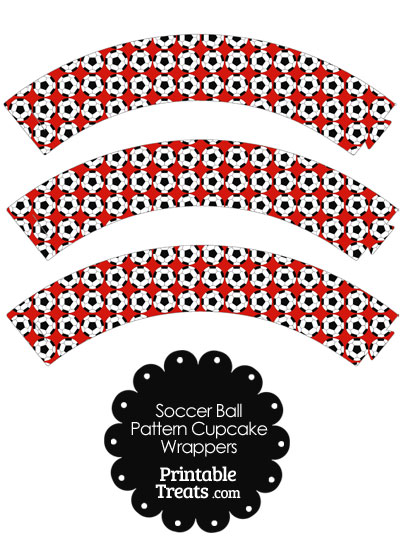 Red Soccer Ball Pattern Cupcake Wrappers from PrintableTreats.com
