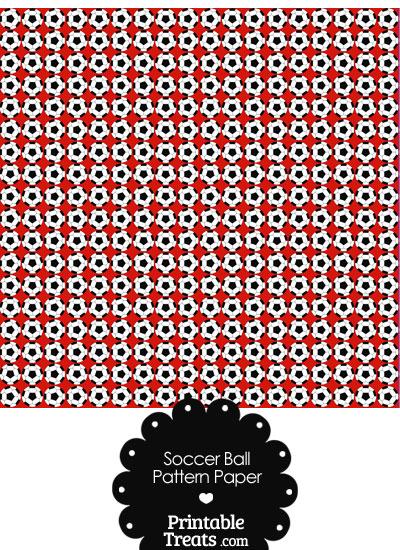 Red Soccer Ball Pattern Digital Scrapbook Paper from PrintableTreats.com