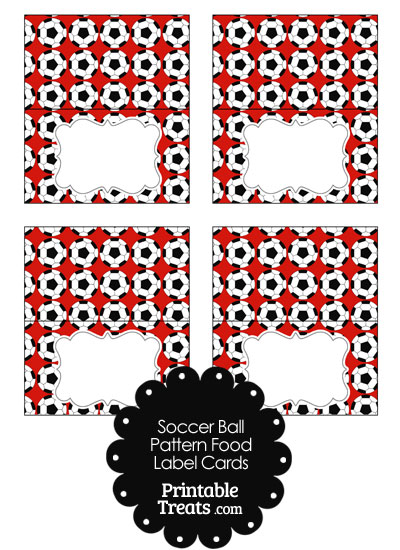 Red Soccer Ball Pattern Food Labels from PrintableTreats.com