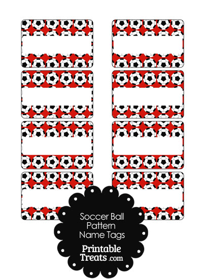 Red Soccer Ball Pattern Name Tags from PrintableTreats.com