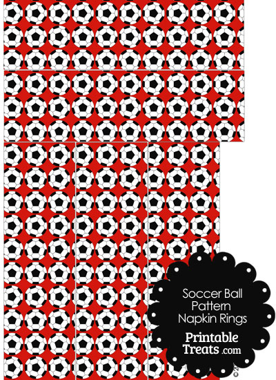 Red Soccer Ball Pattern Napkin Rings from PrintableTreats.com