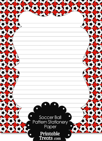 Red Soccer Ball Pattern Stationery Paper from PrintableTreats.com