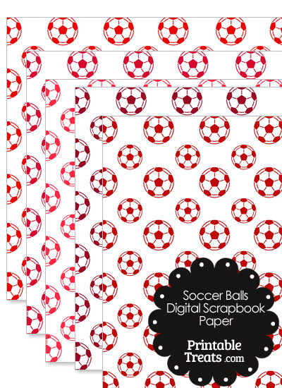 Red Soccer Digital Scrapbook Paper from PrintableTreats.com