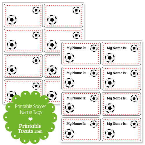 red soccer name tags