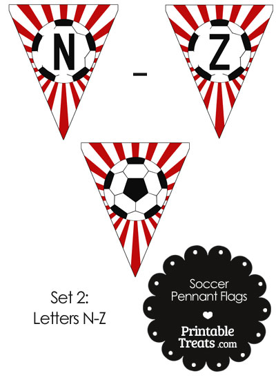 Red Soccer Party Flag Letters N-Z from PrintableTreats.com