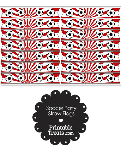 Red Soccer Party Straw Flags from PrintableTreats.com