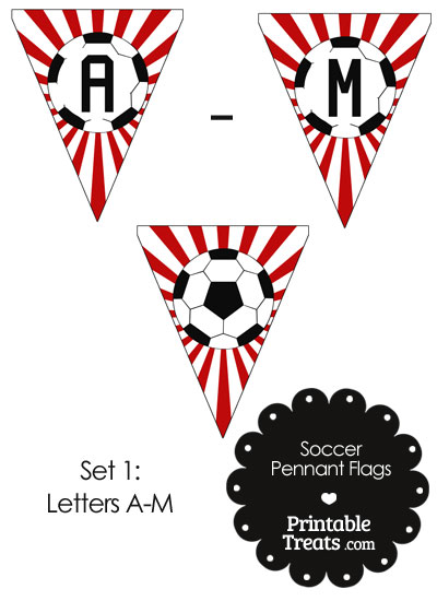 Red Soccer Pennant Banner Flag Letters A-M from PrintableTreats.com