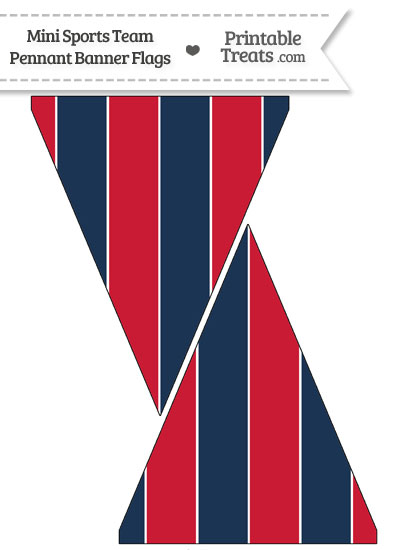 Red Sox Colors Mini Pennant Banner Flags from PrintableTreats.com