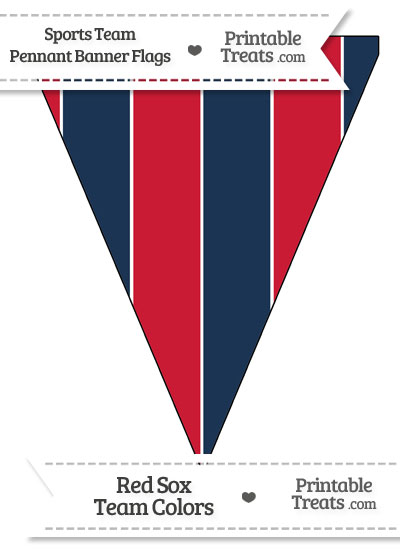 Red Sox Colors Pennant Banner Flag from PrintableTreats.com