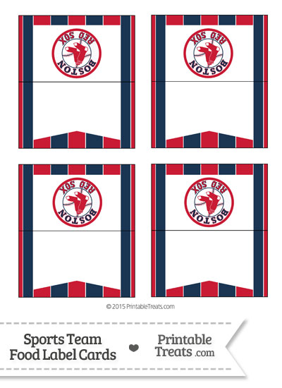 Red Sox Food Label Buffet Cards from PrintableTreats.com