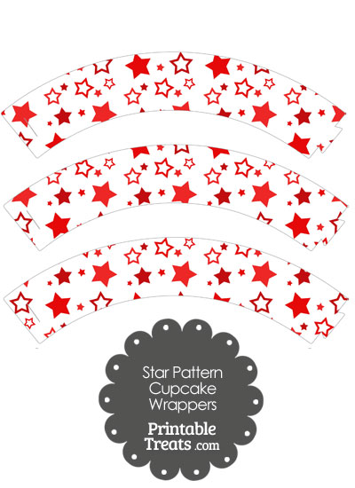 Red Star Pattern Cupcake Wrappers from PrintableTreats.com