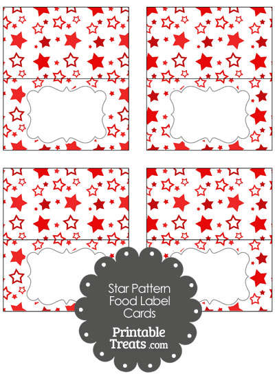Red Star Pattern Food Labels from PrintableTreats.com