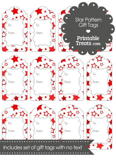 Red Star Pattern Gift Tags from PrintableTreats.com