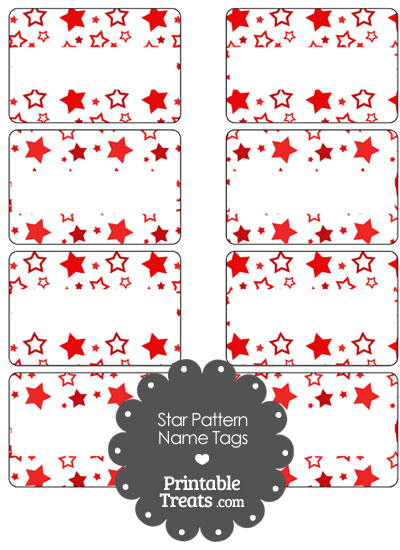 Red Star Pattern Name Tags from PrintableTreats.com