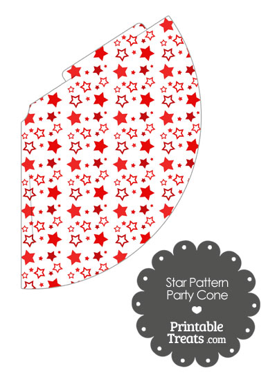 Red Star Pattern Party Cone from PrintableTreats.com