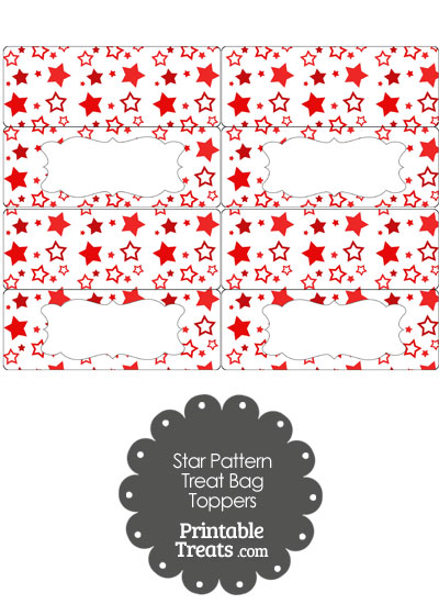 Red Star Pattern Treat Bag Toppers from PrintableTreats.com