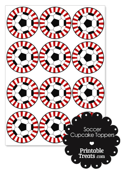 Red Sunburst Soccer Cupcake Toppers from PrintableTreats.com
