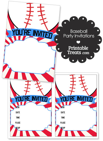 Red Sunburst Baseball Party Invites from PrintableTreats.com