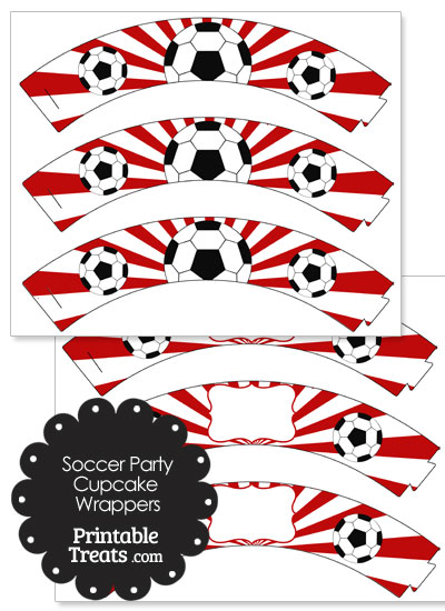 Red Sunburst Soccer Cupcake Wrappers from PrintableTreats.com