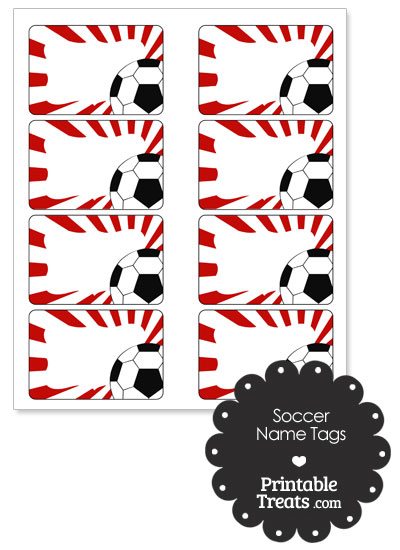 Red Sunburst Soccer Name Tags from PrintableTreats.com