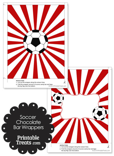Red Sunburst Soccer Party Candy Wrappers from PrintableTreats.com