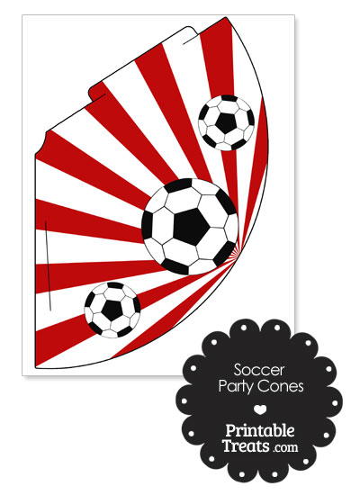Red Sunburst Soccer Party Cones from PrintableTreats.com
