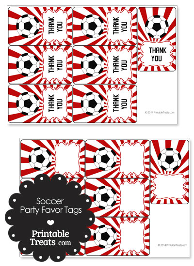Red Sunburst Soccer Party Favor Tags from PrintableTreats.com